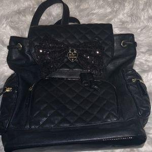 Betsey Johnson Black Leather Backpack